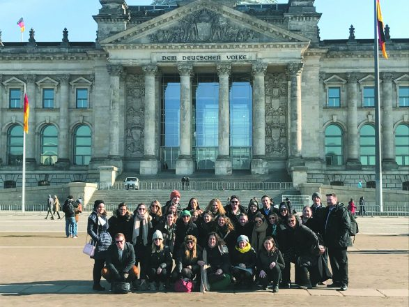 The group poses in front of the Bundestag, the lower Parliament in Germany's bicameral system. We had the chance to meet with the staffer of a member of Parliament who talked to us about the currently debated topics and answered our questions about the presence of right wing extremism in those debates. Later, we went to the Federal Foreign Office, where we met with the Deputy Special Representative for Relations with Jewish Organizations. We were able to gain some insight into the ways the federal government approaches and supports the Jewish community in Germany and represents their interests abroad.