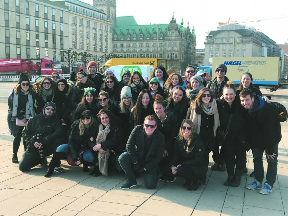 The Germany Close Up group pauses by the Binnenalster for a quick photo before continuing on the tour.