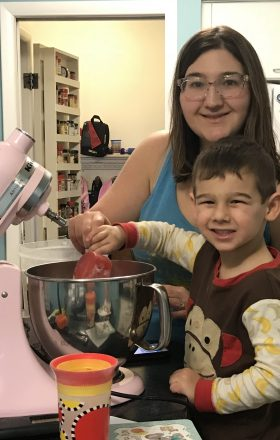 Amanda Alberts and son C cooking. Cooking with kids. Cooking with a kid. Baking with a kid