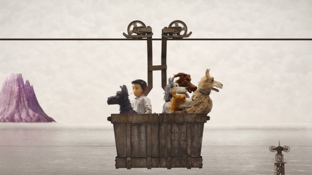 still from the movie Isle of Dogs