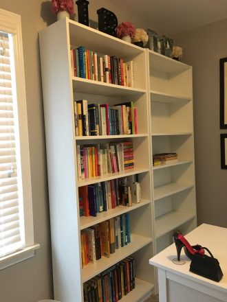 Leslie Rott's bookshelf full of books.