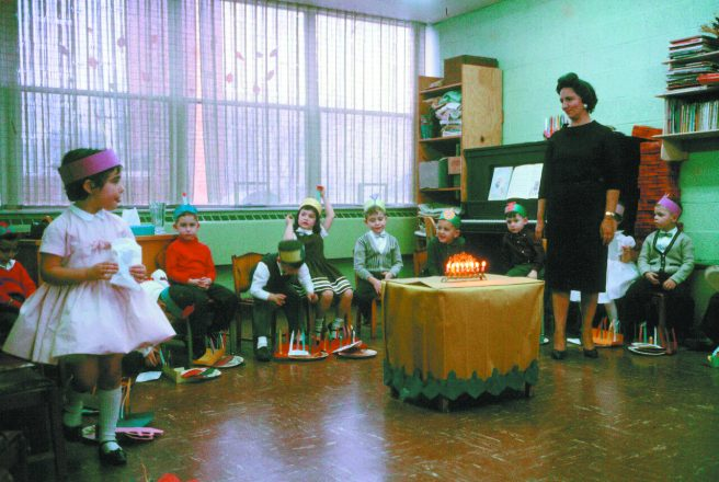 Naomi Floch's first-grade class celebrating Chanukah, 1960; she was the school's first administrator and also a teacher.