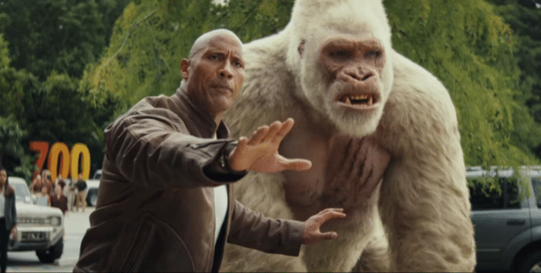 Still from the movie Rampage starring Dwayne Johnson or Dwayne