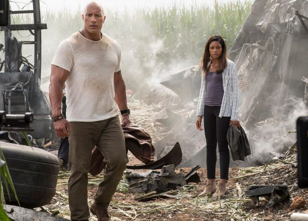 "Still from the movie Rampage starring Dwayne Johnson or Dwayne ""the rock"" Johnson and Naomie Harris."