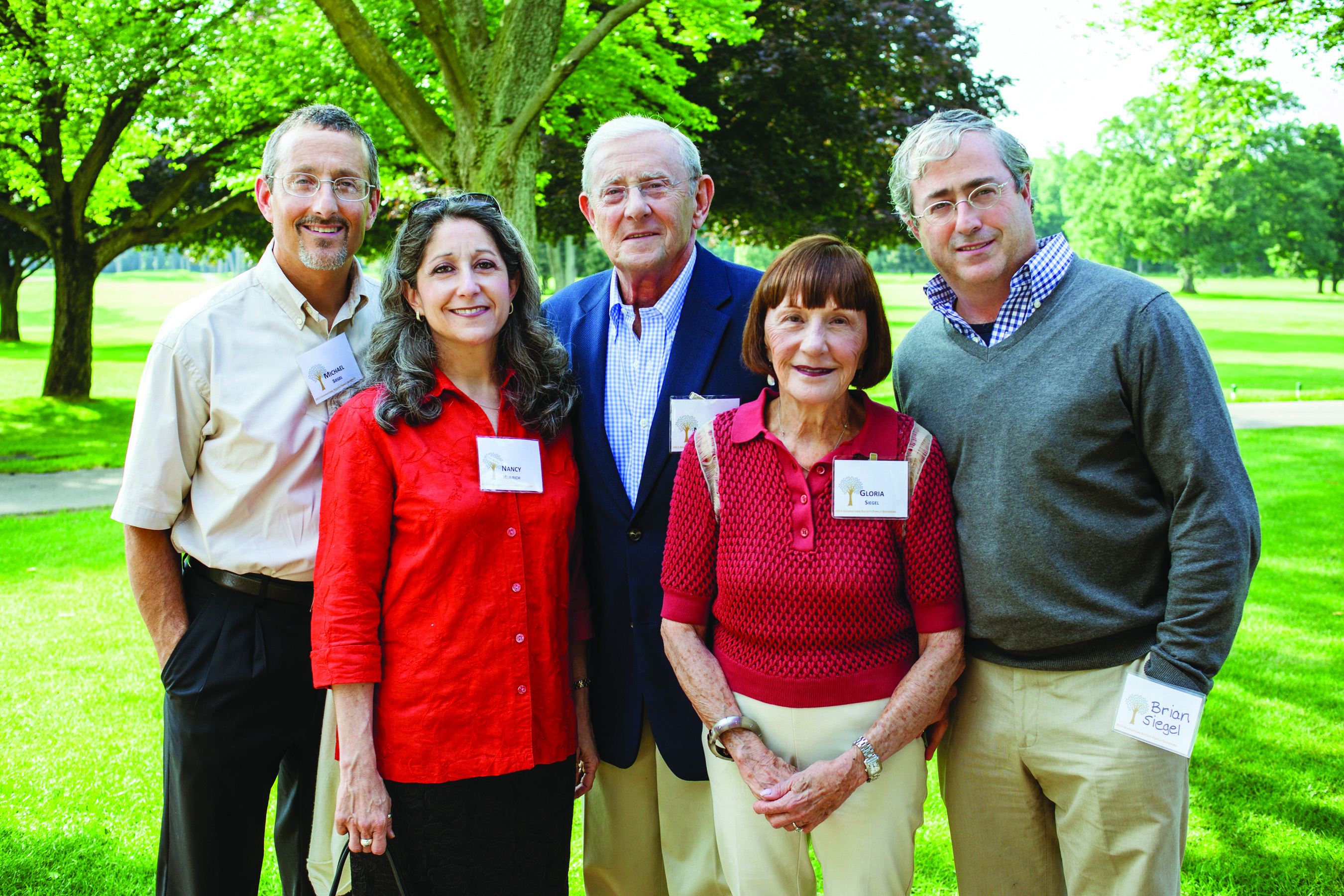 Siegel family in 2013: Michael, Nancy Heinrich, Marvin, Gloria and Brian.