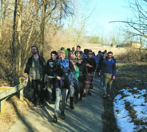 A meditative hike was led by certified forest therapist Cayla Samano of Ann Arbor.