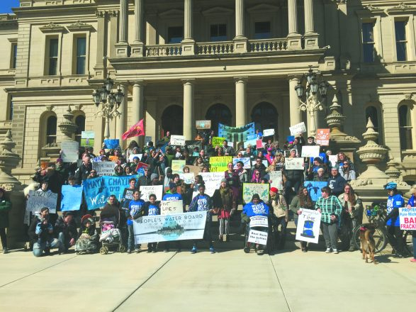 Group photo at World Water Day in Lansing — Hazon represented 13 local Jewish organizations and 5,000 individuals who signed a declaration that water is a human right.