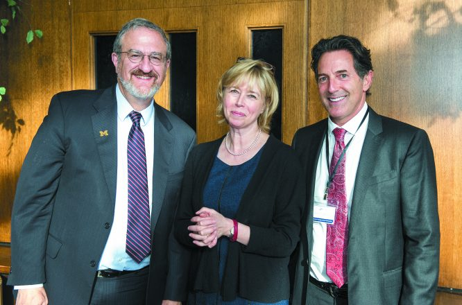 University of Michigan President Mark Schlissel and Barbara Ackley, U-M assistant vice president for leadership gifts, international giving and engagement, stewardship and presidential development activities, with DJN Foundation Board Member Mitchell Mondry.