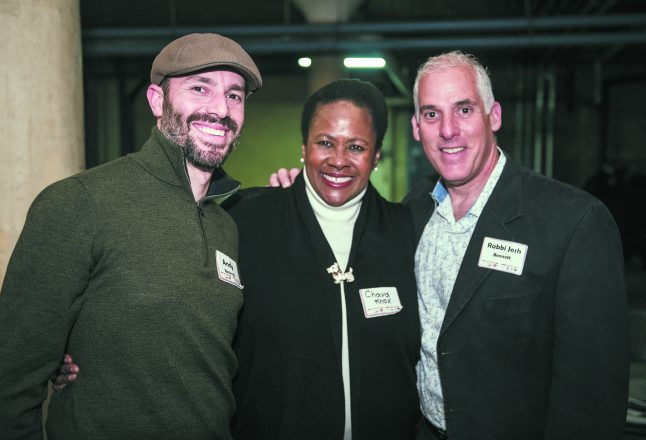 Andy Bocknek of Farmington Hills, Chava Knox of Eden Gardens, the winning cause, and Rabbi Josh Bennett of Bloomfield Hills. Photo by Jerry Zolynsky