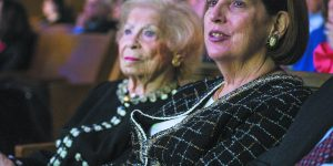 People watch the Klezmatics at the Jewish News 75th Anniversary Gala event