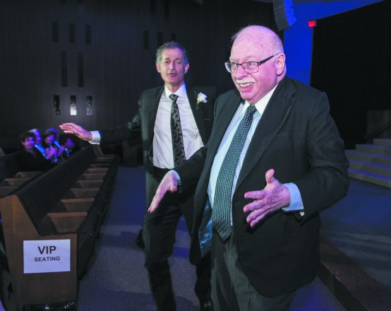 Dancing to the music — Chair of Detroit Jewish News LLC Michael Steinhardt, right, and JN Publisher and Executive Editor Arthur Horwitz.