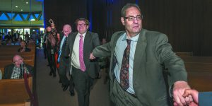 Dancing to the Klezmatics in the Shaarey Zedek sanctuary are, from front, Michael Ingber of Oak Park, Manny Menchel of the William Davidson Foundation and JN Chair Michael Steinhardt.