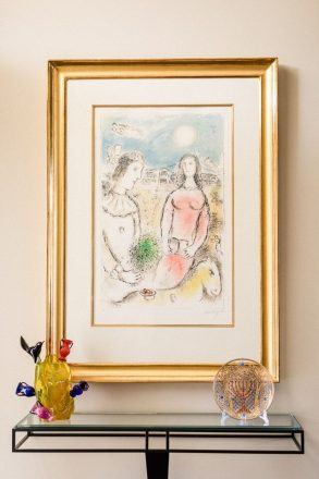 A circa-1900 Pauly & C Judaica plate and a piece by Ginny Ruffner sit below a Chagall drawing