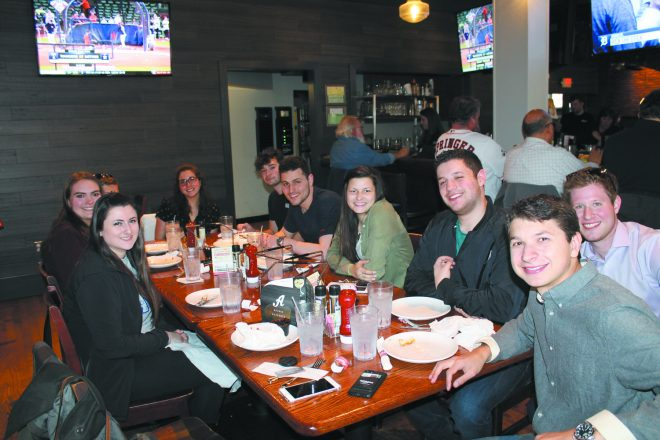 Hillel@EMU enjoyed Shabbat dinner: Brittany Tapper, Walled Lake; Zoey Lutz, West Bloomfield; Shira Starr, Farmington Hills; Ross Gaft, Huntington Woods; Matan Segall, Lehavim, Israel; Sarina Cowan, Ann Arbor; Corey Lesson and Drew Warnecke, both of West Bloomfield; and Blake Zack, Bloomfield.