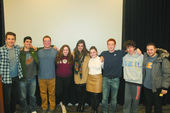 Social activist and entrepreneur Erin Schrode spoke to GVSU Hillel students: Joseph Labovitz, Birmingham; Jonah Benson, West Bloomfield; Michael Gould, Farmington Hills; Zoe Kaufman, Chicago; Schrode; Allison Egrin, Beverly Hills; Morgan Mattler, Bloomfield Hills; Ben Friedman, Milwaukee; and John Lurie, Berkley.