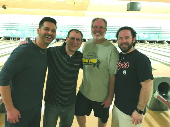Meet the Brotherhood-Eddie Jacobson B'nai B'rith bowling league champions. From left are Matt Rappaport, Ben Shapiro, Gary Klinger and Aubrey Topper.