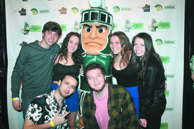 Partying with Sparty at Sparty's Bar Mitzvah Party 2018: (back) Eli Wasserman and Eriel Emmer, both of West Bloomfield; Sara Weinfeld, Farmington Hills; and Jenny Guttman, Novi; (front) Alec Shapiro, Farmington Hills; and Spencer Wolfe, West Bloomfield.