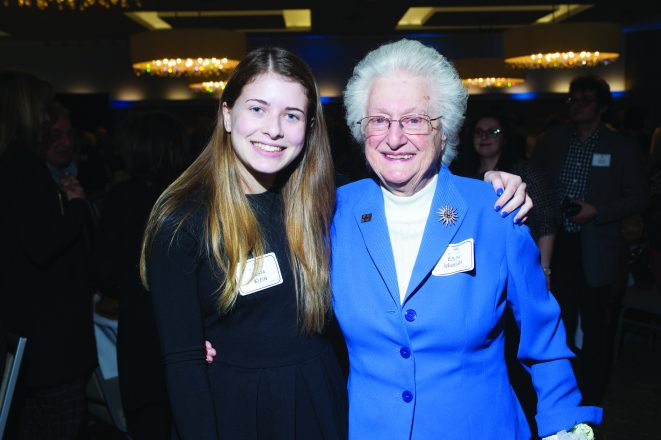 FJA student Sofia Klein with 2018 Honoree Edith Maniker