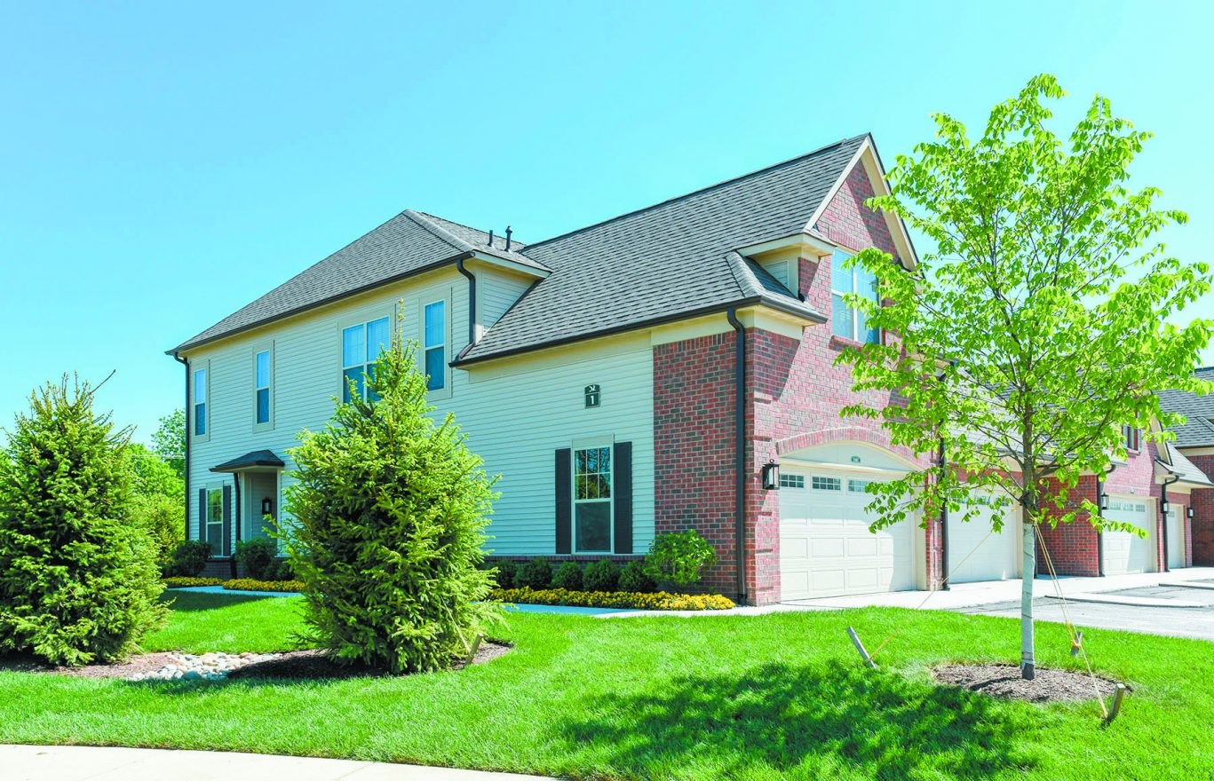Exterior shot of the ShearWater Apartment Houses in Commerce Township.