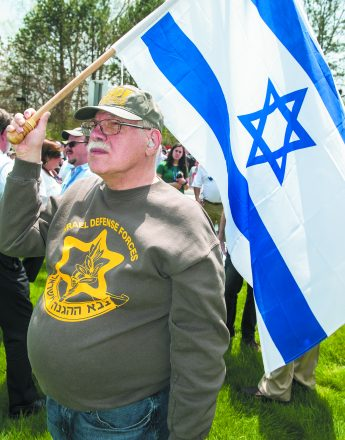 Ray Rebeck of West Bloomfield show his love of Israel.
