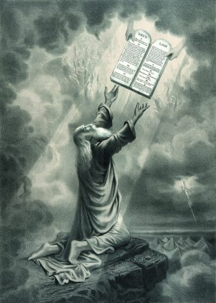 An vintage engraving featuring Moses receiving the Ten Commandments in honor of Tikkun Leil Shavuot.