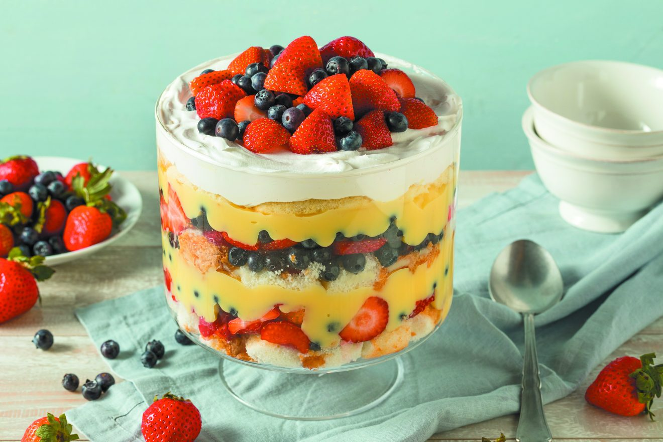Sweet Homemade Strawberry Trifle Dessert with Custard and Cake