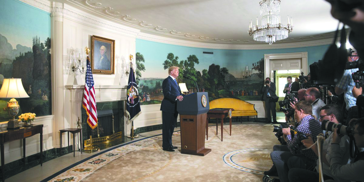 President Donald Trump at the press briefing announcing the withdrawal from the Iran nuclear deal, May 8.