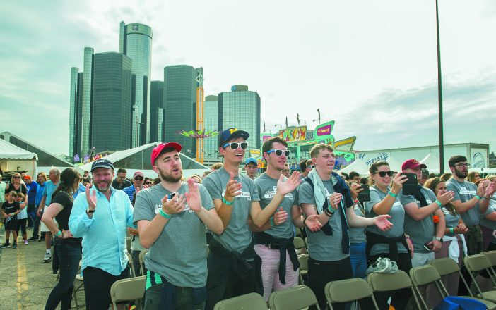 Israel@70 at GM River Days. Jewish Federation CEO Scott Kaufman, left, was among 3,500 community members — plus 300 staffers from Tamarack Camps and 100 staffers from JCC Day Camps — celebrating Israel's 70th anniversary on the Detroit Riverfront.