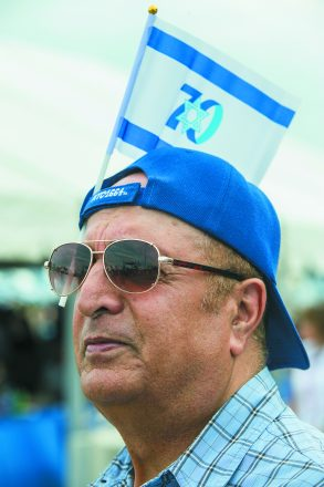 Israel@70. Daniel Zaid of Farmington Hills shows his support for Israel.