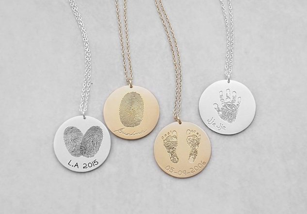 Custom finger, hand and footprint necklaces from GracePersonalized.