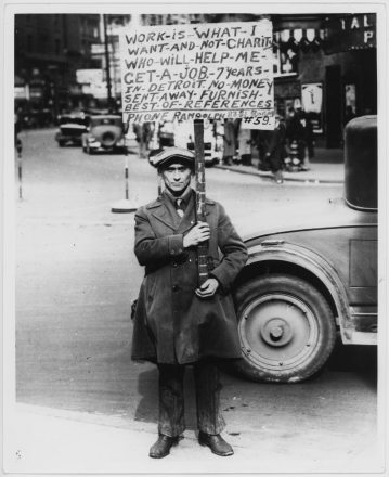 Unemployed man with sign asking for work in Detroit, Michigan, 1932. While the Nazis persecuted Jews in Germany, the United States had already been suffering the effects of the Great Depression and most Americans chose to focus on problems at home.