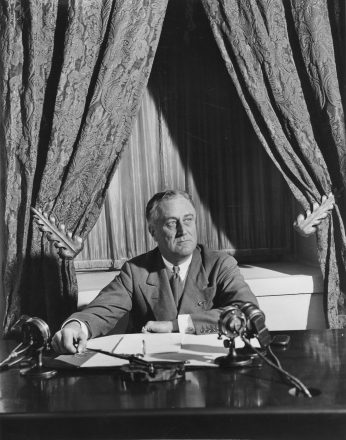 FDR broadcasts his first fireside chat, March 12, 1933. President Franklin D. Roosevelt prioritized economic recovery from the Great Depression and victory in World War II above humanitarian crises overseas.