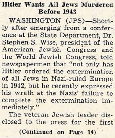"""History Unfolded"" includes eight articles from the Detroit Jewish News, including this article from the Dec. 4, 1942, issue. Part 1 of article."