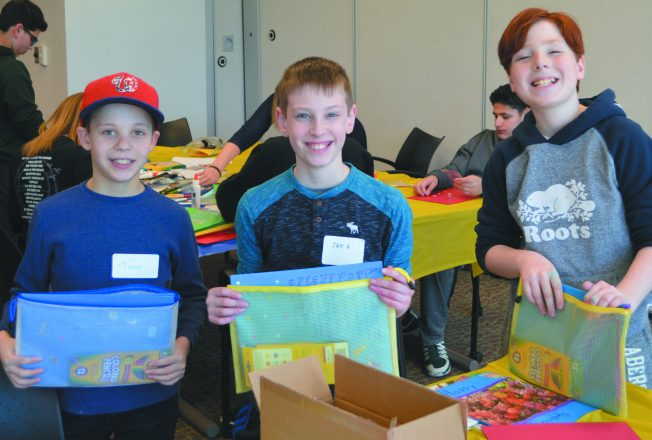 Participants in Because We Care's Soothing Sunday event made stress relief kits for JFS therapists to present to teen clients.