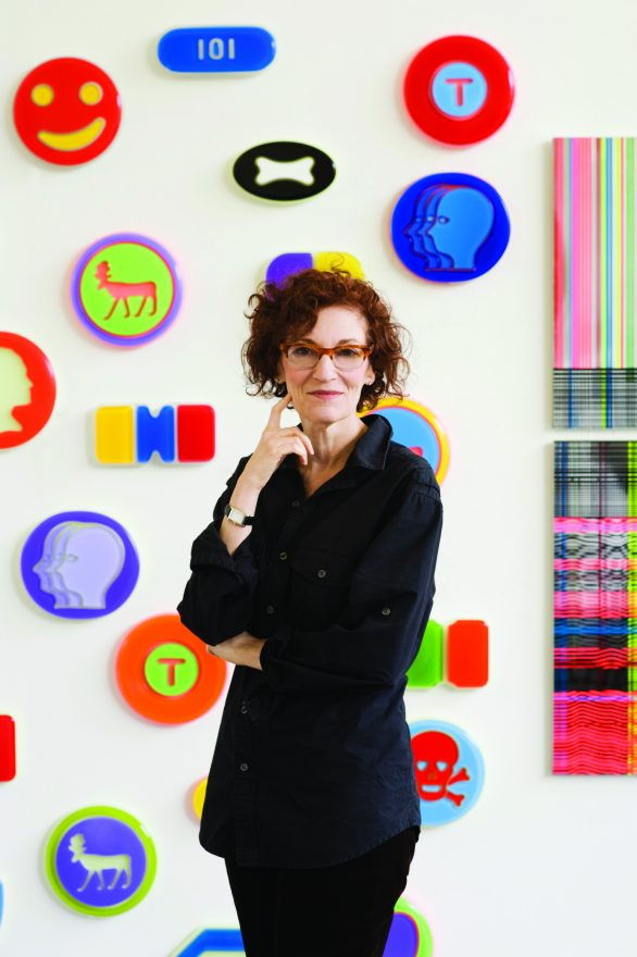 Beverly Fishman with some of her previous work, including her well-known pharmaceuticals.