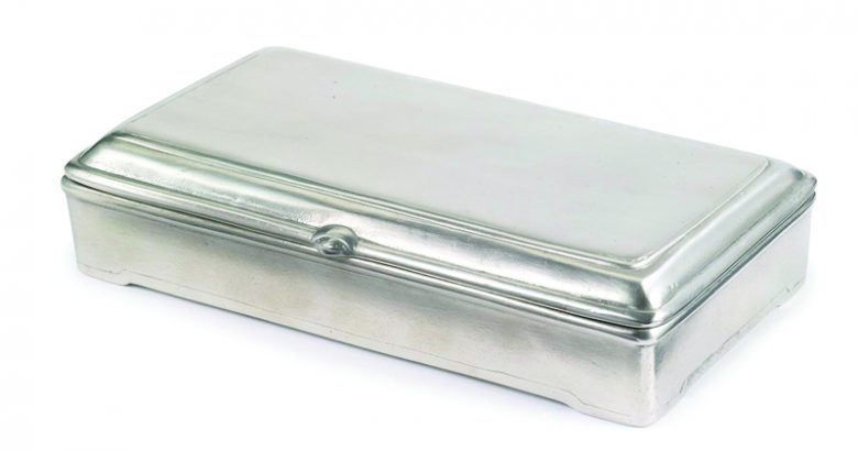 A pewter Rectangle Lidded Box ($260) by Match is the perfect place to store his keys, treasures and trinkets. Zieben Mare, Franklin. (248) 539-8879; ziebenmare.com. Father's Day Gift.