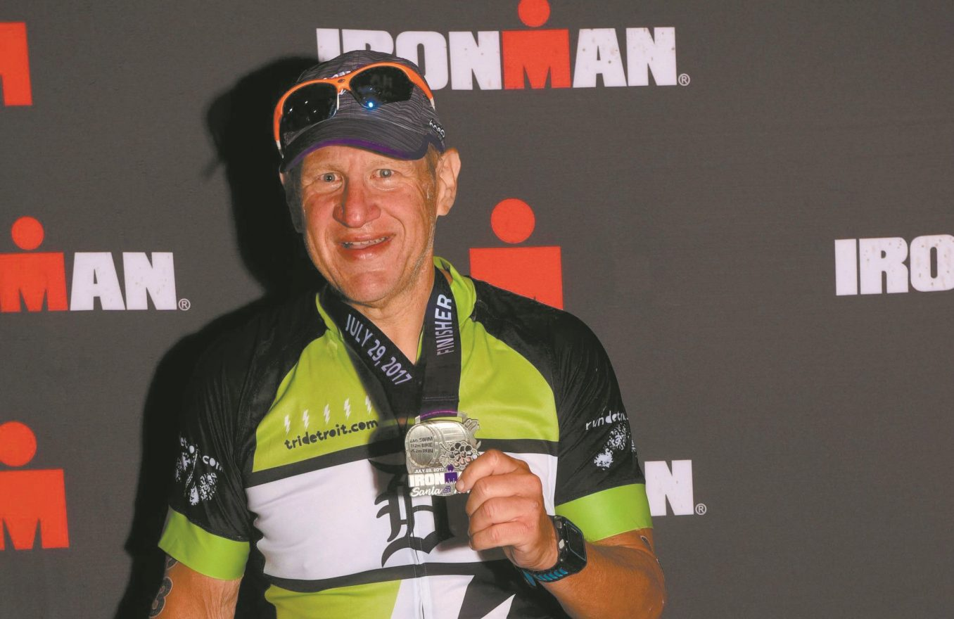 Ira Goldberg of Farmington Hills with his Iron Man medal in 2017 in Santa Rosa, Calif.