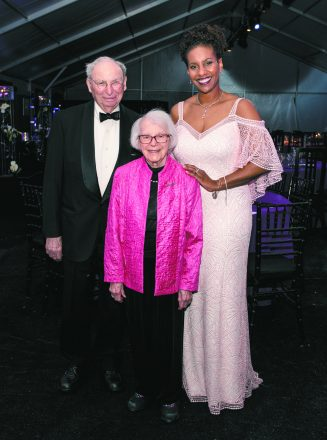 At the Science Center gala, Judge Walter Shapiro, Kathleen Straus and Tonya Matthews, Michigan Science Center president and CEO.