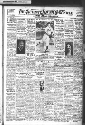 "Detroit Jewish Chronicle May 27, 1932 Jewish baseball player Isadore ""Izzy"" Goldstein"