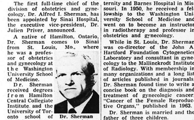 Dr. Sherman in the Detroit Jewish News 1967 edition.