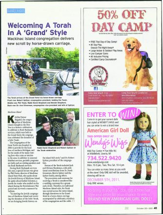 Detroit Jewish News October 20, 2011 issue. Shows the donation of a Sefer Torah for the congregation on Mackinac Island.