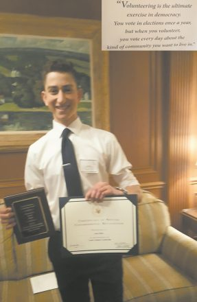 Isaac Mintz, a sophomore at the West Bloomfield Frankel Jewish Academy, is one of five students in Oakland County to receive a Youth Volunteer Leadership Award presented at the May Michigan Week Community Awards ceremony. He was chosen by his classmates to be one of their three representatives for student government. Mintz stands out for his ability to speak clearly and respectfully.