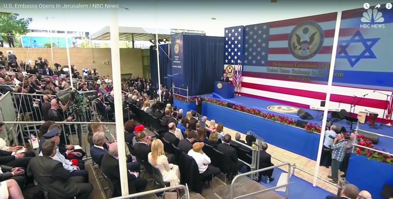 The dedication of the U.S. Embassy in Jerusalem on May 14, 2018.