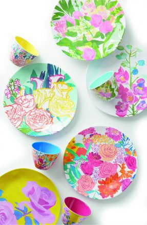Anthropologie's PAINT + PETALS MELAMINE COLLECTION (dinner plate, serving platter and nut bowl) burst with colorful blooms. Area Anthropologie stores (anthropologie.com).