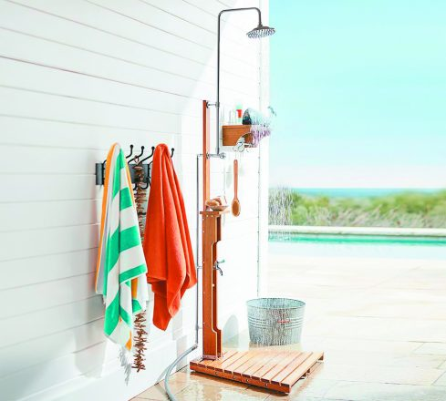 Pottery Barn eco-friendly OUTDOOR SHOWER ($399), made of eucalyptus, is perfect for a private poolside corner. Potterybarn.com. outdoor decorating