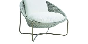 Curl up in Crate and Barrel's MOROCCO OVAL LOUNGE CHAIR ($599): A handmade galvanized steel frame with gray powdercoat is topped with a mildew-resistant pillow. Crateandbarrel.com.