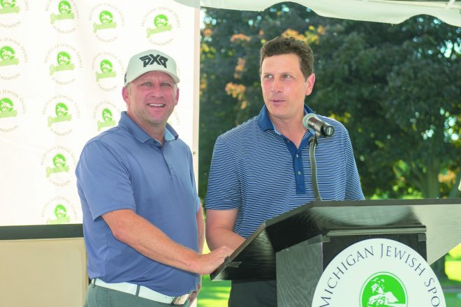 Brian Eisenberg and JJ Modell, were event chairs for the 28th Annual Hank Greenberg Memorial Golf Invitational June 11 at Franklin Hills Country Club. Proceeds benefited the Barbara Ann Karmanos Cancer Institute-Lawrence and Idell Weisberg Cancer Treatment Center.