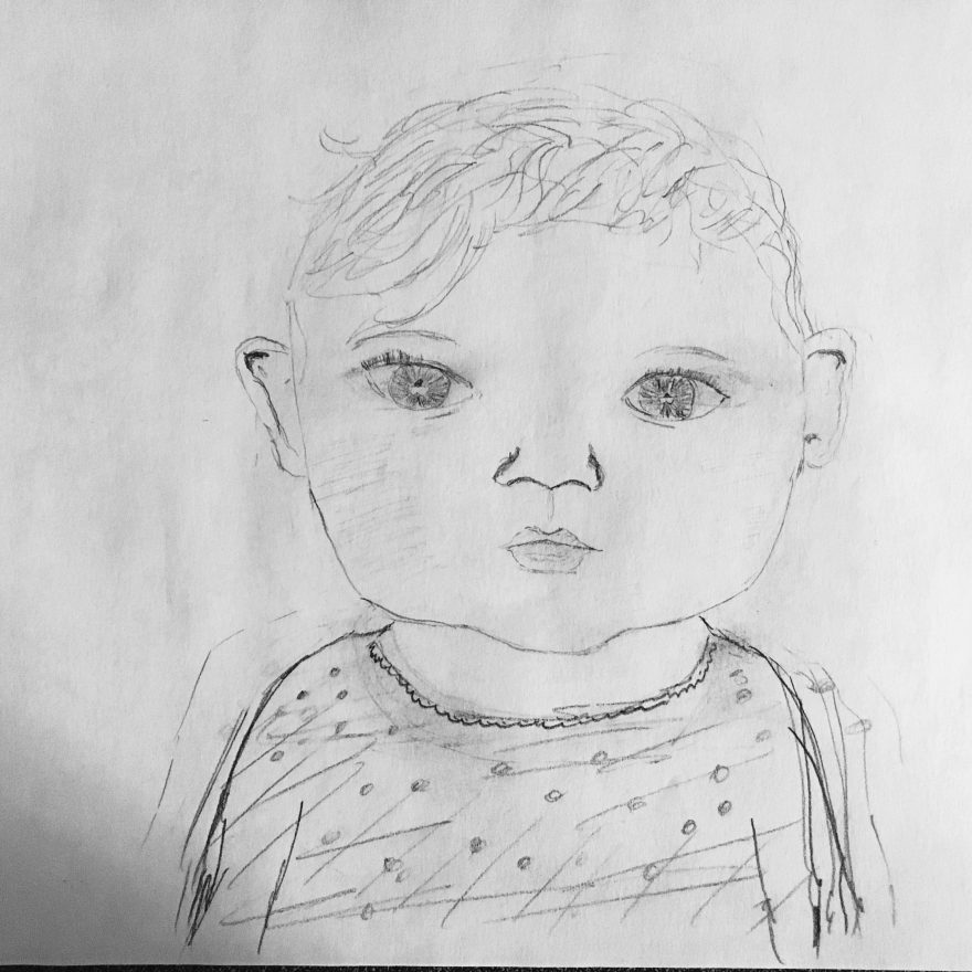drawing of Olivia, Debra Darvick's granddaughter.