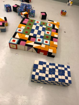 "Faye's own ""Agam"" design at the Agam Museum."