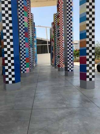Art columns at the Agam Museum.